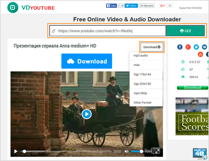 онлайн сервис vdyoutube