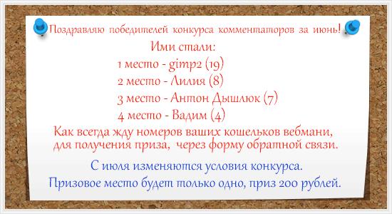 Итоги конкурса комментаторов за Июнь
