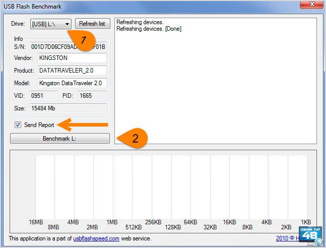 Как проверить скорость флешки с помощью программы USB Flash Benchmark